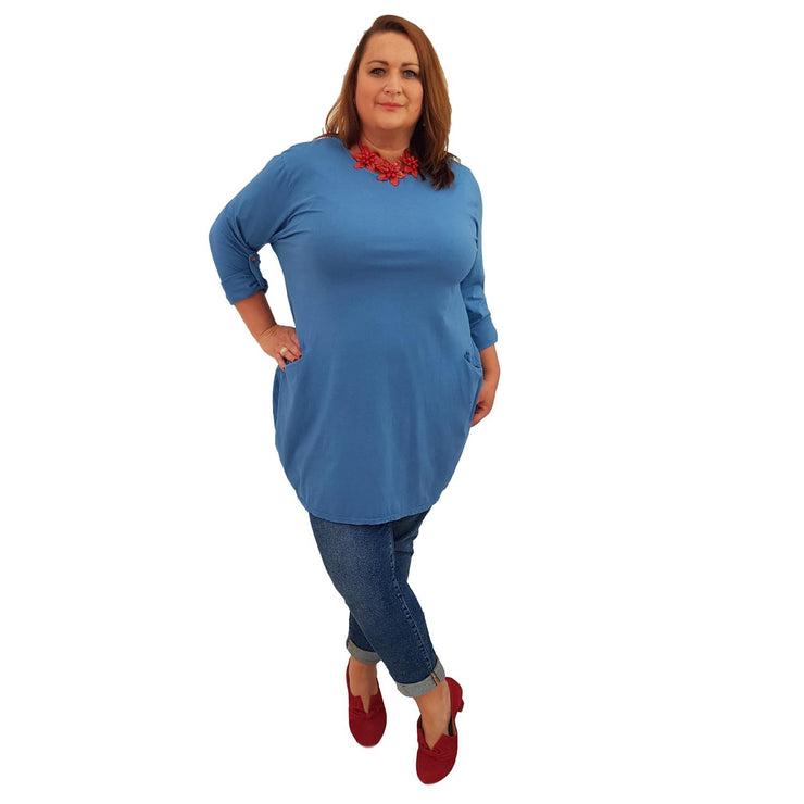 Tunic  Top Baggy   Blue Plus Size [L420_BLUE] - size 16 18 20 22 24 26 28 30 32 34 36 38 40 42 Wolfairy