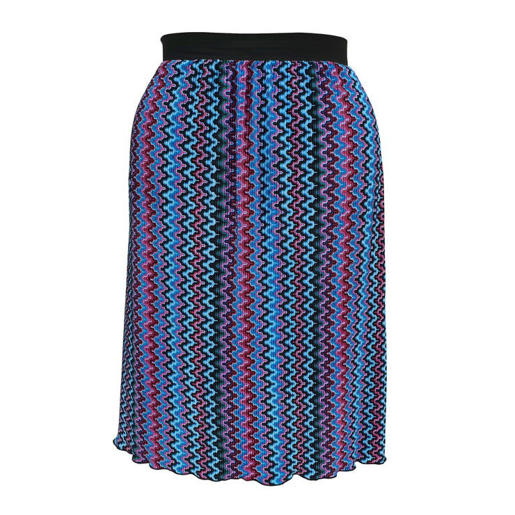 Geometric Print Pleated Midi Skirt With Elasticated Waistband Plus Size [L1059_BLUE] - size 16 18 20 22 24 26 28 30 32 34 36 38 40 42 Wolfairy