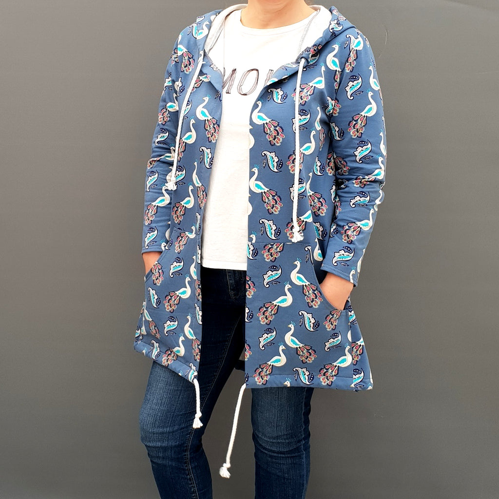 Fleeced Women's Plus Size Cotton Jersey Plain Sweatshirt Cardigan Coat [L1137_BLUE]