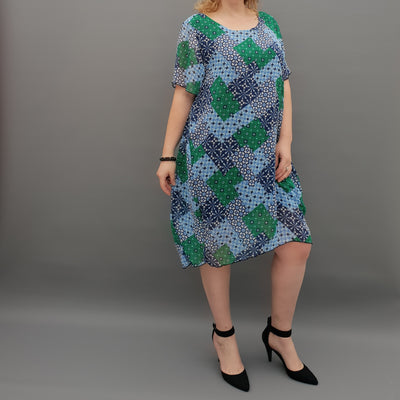 Plus size chiffon summer dress tunic [L1072_BLUE]