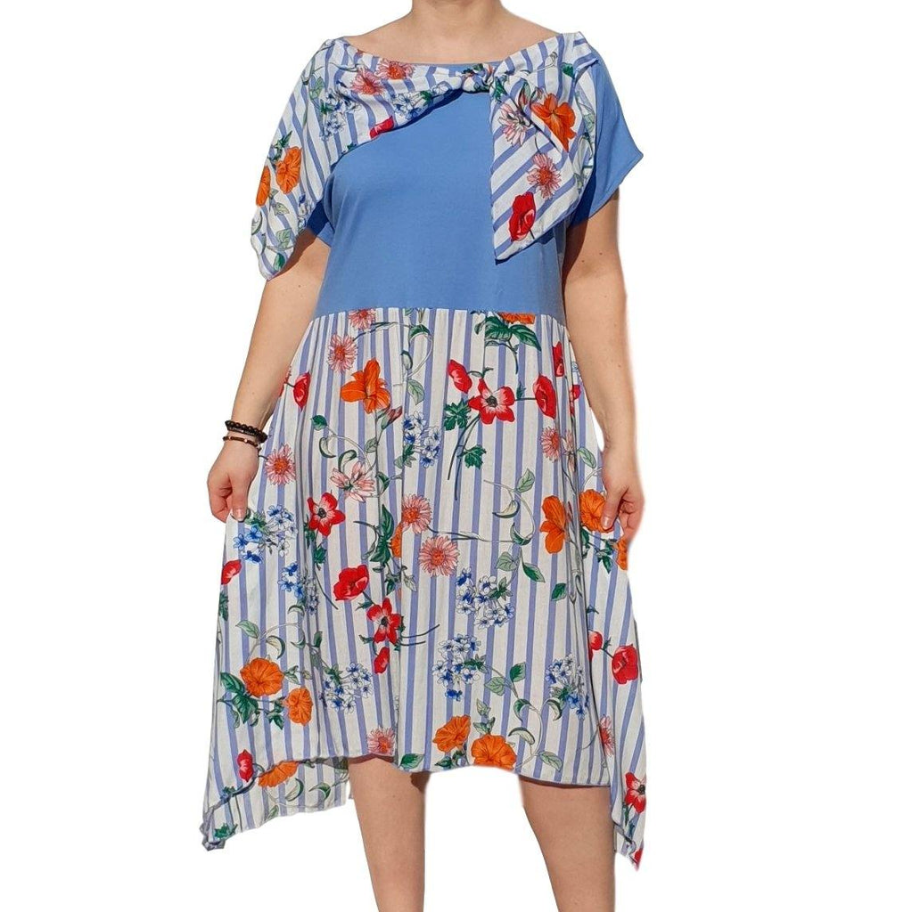 Dress  Sleeveless Boho Beach Holiday Floral Airy Lagenlook Plus Size [L1056_BLUE] - size 16 18 20 22 24 26 28 30 32 34 36 38 40 42 Wolfairy