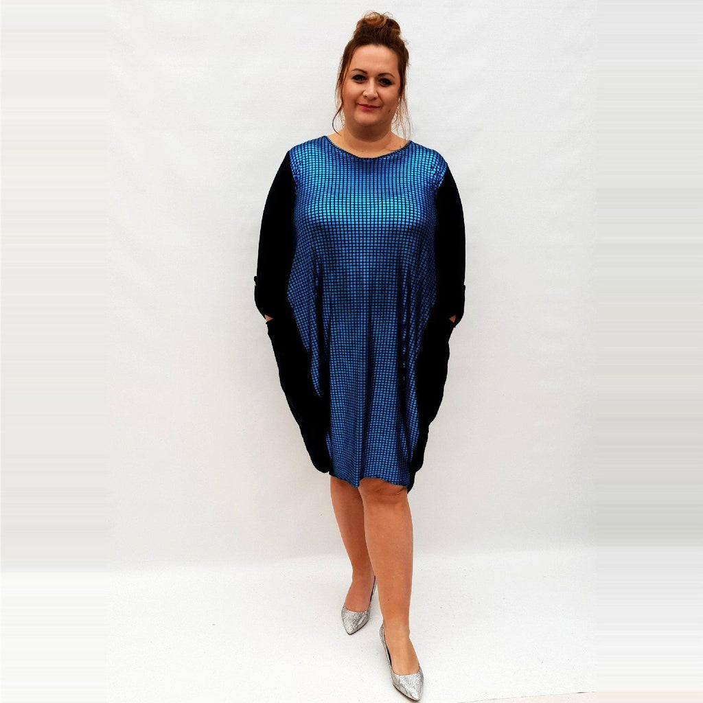 Dress Loose Baggy Long Sleeve Shiny Front Lagenlook Plus Size [L1032_BLUE] - size 16 18 20 22 24 26 28 30 32 34 36 38 40 42 Wolfairy