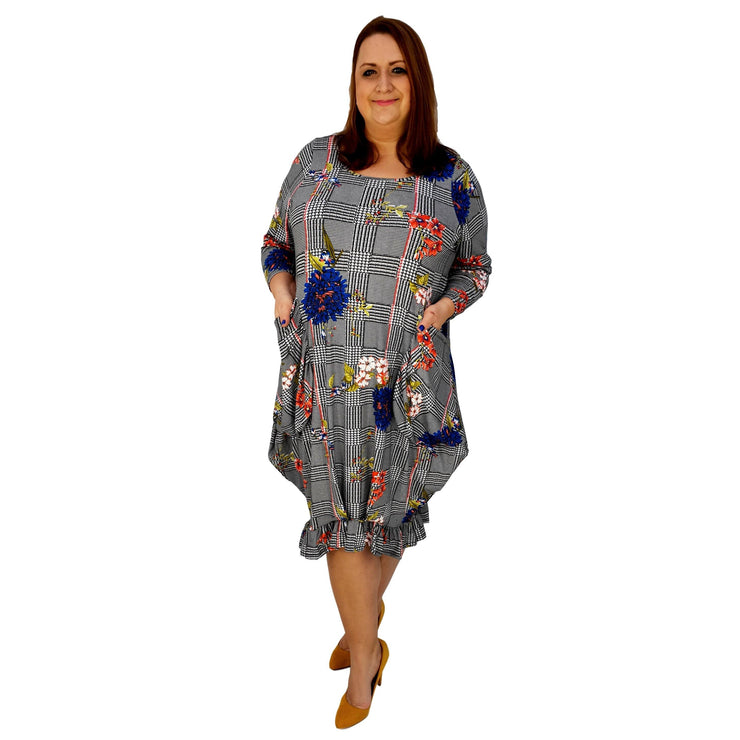 Asymmetric Dress Frilll Loose Pockets Long Sleeve Floral Lagenlook Plus Size [L1043_BLUE] dress Wolfairy