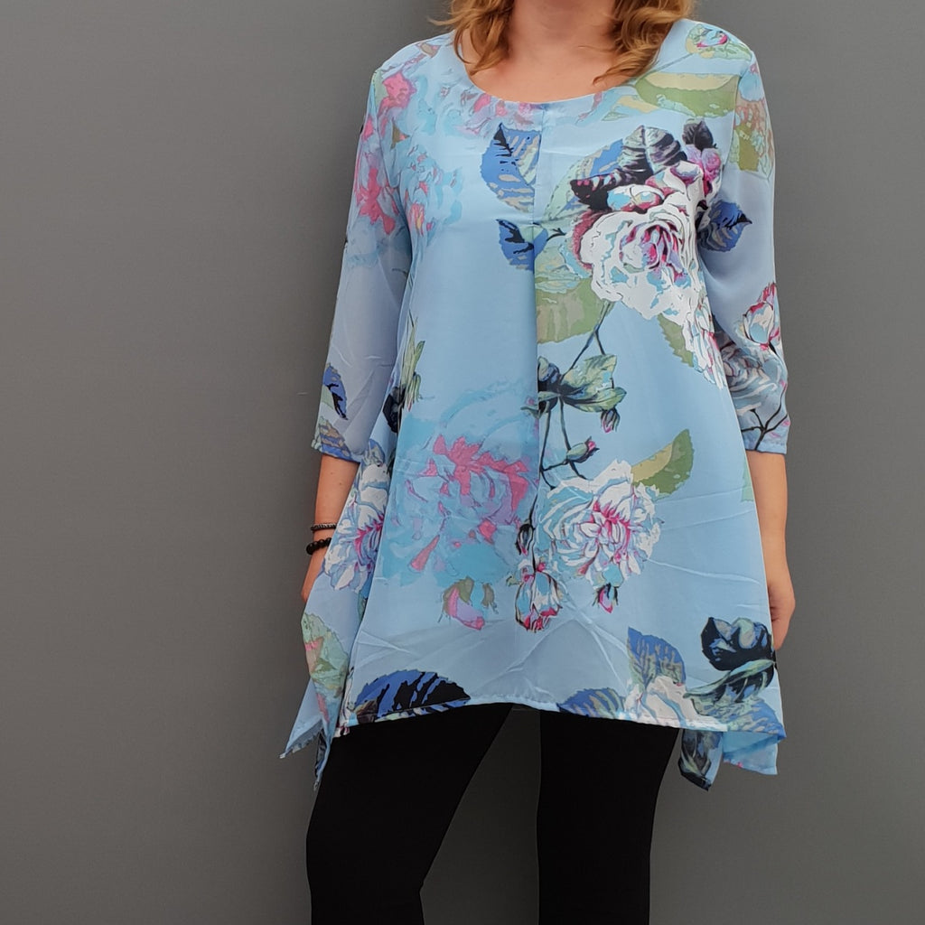 Plus size handkerchief chiffon floral top tunic with lining [L1091_BLUE] - size 16 18 20 22 24 26 28 30 32 34 36 38 40 42 Wolfairy