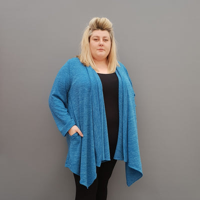 Womens plus size cardigan long sleeves open front handkerchief hem  [L1115_BLUE] - size 16 18 20 22 24 26 28 30 32 34 36 38 40 42 Wolfairy