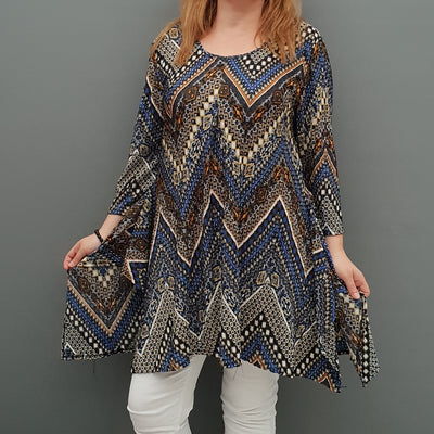 Handkerchief Pleated Stretchy Long Top Tunic 3/4 Sleeve [L1085_BLUE] - size 16 18 20 22 24 26 28 30 32 34 36 38 40 42 Wolfairy