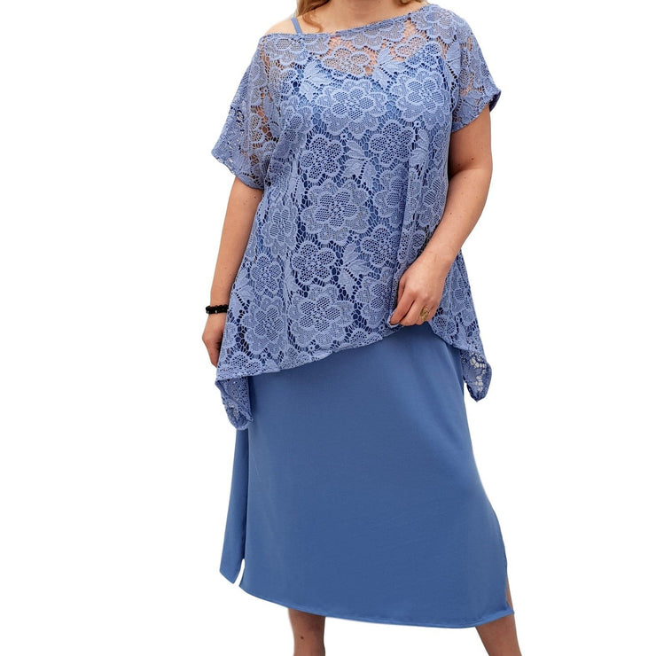 Semi-fitted Bodycon Jersey Maxi Dress With Lace Top - 2 Pieces Set Lagenlook Plus Size [L1053_BLUE] - size 16 18 20 22 24 26 28 30 32 34 36 38 40 42 Wolfairy