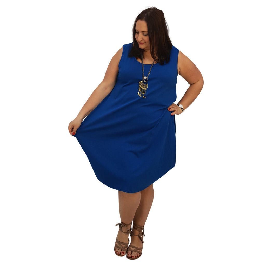 Midi Dress For Beach  Holiday Frill Floral Aztec Tribal  Plus Size [L1047_BLUE] - size 16 18 20 22 24 26 28 30 32 34 36 38 40 42 Wolfairy