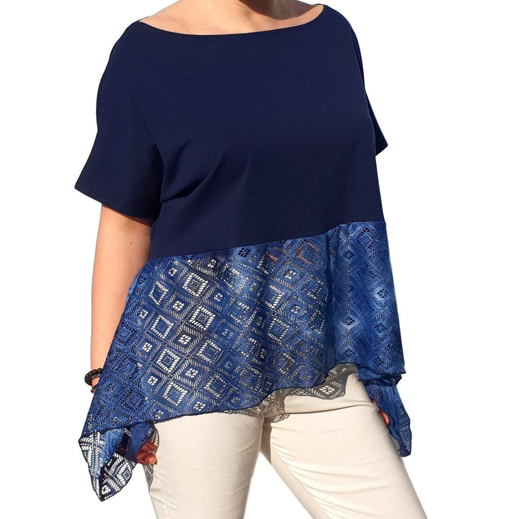 Lace Top  Frill Loose Baggy Short Sleeve Beach Holiday Airy Lagenlook Plus Size [L1057_BLUE] - size 16 18 20 22 24 26 28 30 32 34 36 38 40 42 Wolfairy