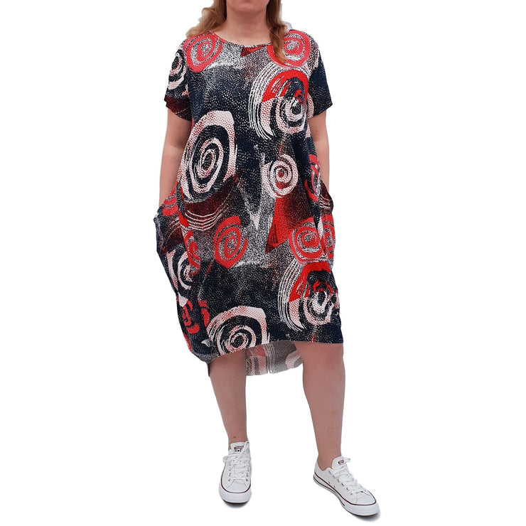 Dress Boho Floral Jersey Short Sleeve  Pockets Lagenlook Plus Size [L1054_BLUE] - size 16 18 20 22 24 26 28 30 32 34 36 38 40 42 Wolfairy