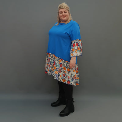Plus Size Swing Jersey Cotton Top Longer Back with Chiffon Hem [L1120_BLUE] - size 16 18 20 22 24 26 28 30 32 34 36 38 40 42 Wolfairy