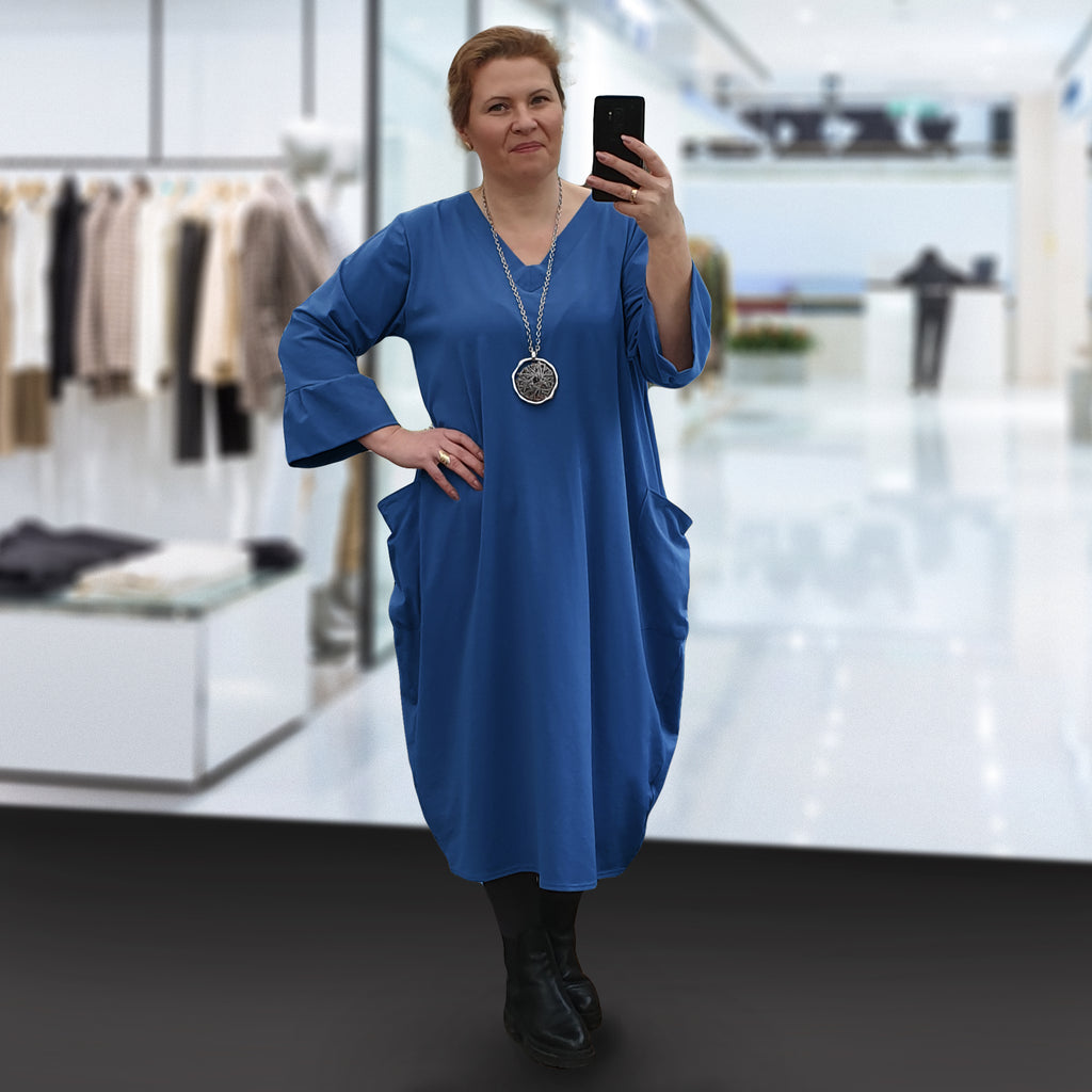 Plus Size Cotton Jersey Loose V-neck Dress with Pockets [L1239_BLUEJEANS]