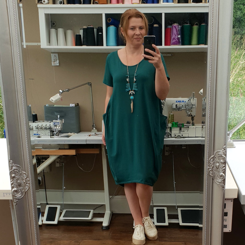 Plus Size Cotton Jersey Dress with Big Pockets [L1165_BOTTLEGREEN]