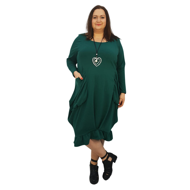 Asymmetric Dress Frill Loose Pockets Plain Long Sleeve Lagenlook Plus Size [L1044_BOTTLEGREEN] - size 16 18 20 22 24 26 28 30 32 34 36 38 40 42 Wolfairy