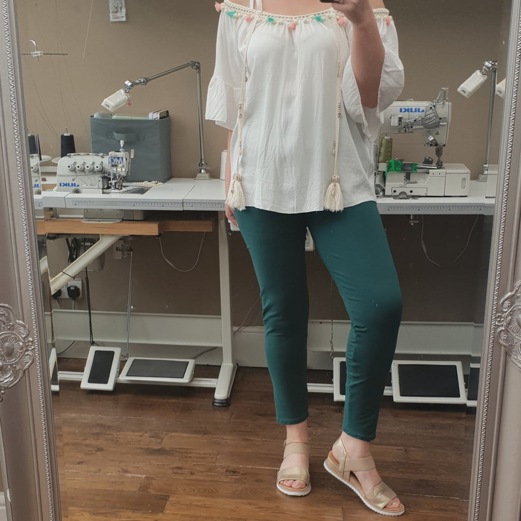 PLUS SIZE COTTON LEGGINGS [L1142_BOTTLEGREEN]