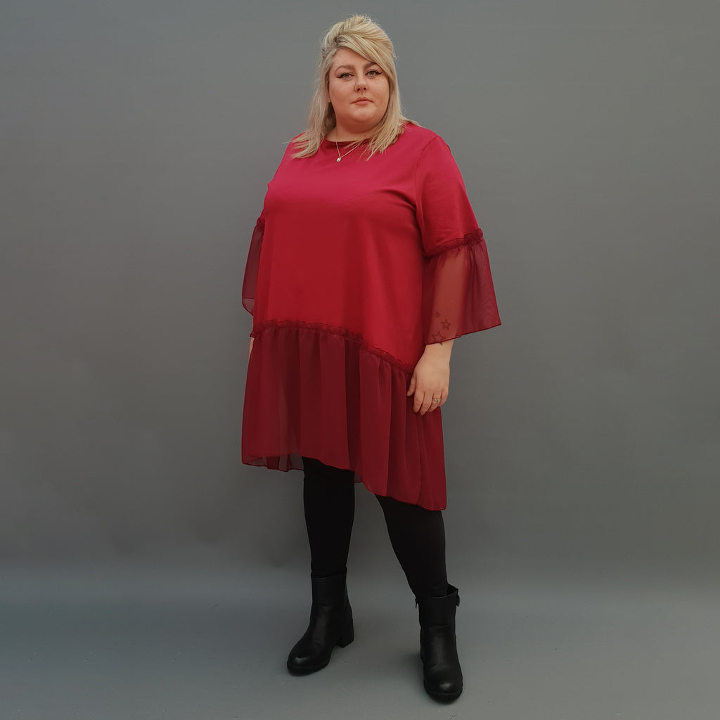 Plus Size Swing Jersey Cotton Top Longer Back with Chiffon Hem [L1120_BURGUNDY] - size 16 18 20 22 24 26 28 30 32 34 36 38 40 42 Wolfairy