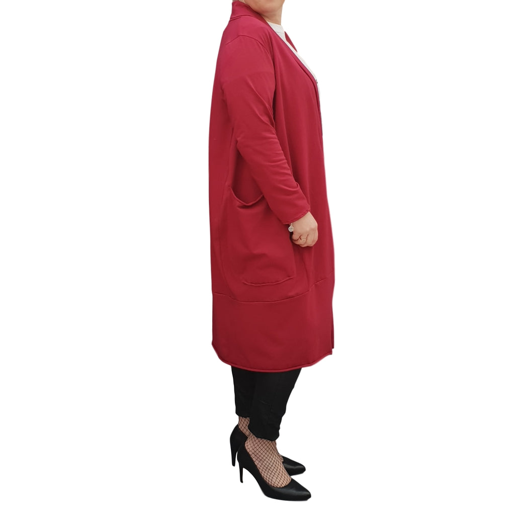 Women's Plus Size Long Cardigan Coat with Pockets [L1129_BURGUNDY]