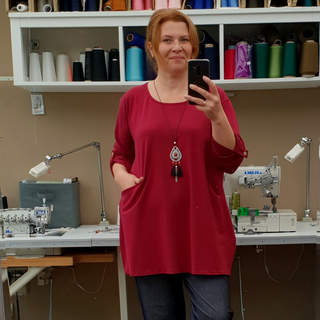 PLUS SIZE COTTON BAGGY TOP LONGER TUNIC LONG SLEEVE ( folded ) [L1166_BURGUNDY]