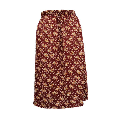 Plus Size Long Floral MAXI Skirt With Elasticated Waistband - length 36,5'' (93 cm) [L1134_BURGUNDY]