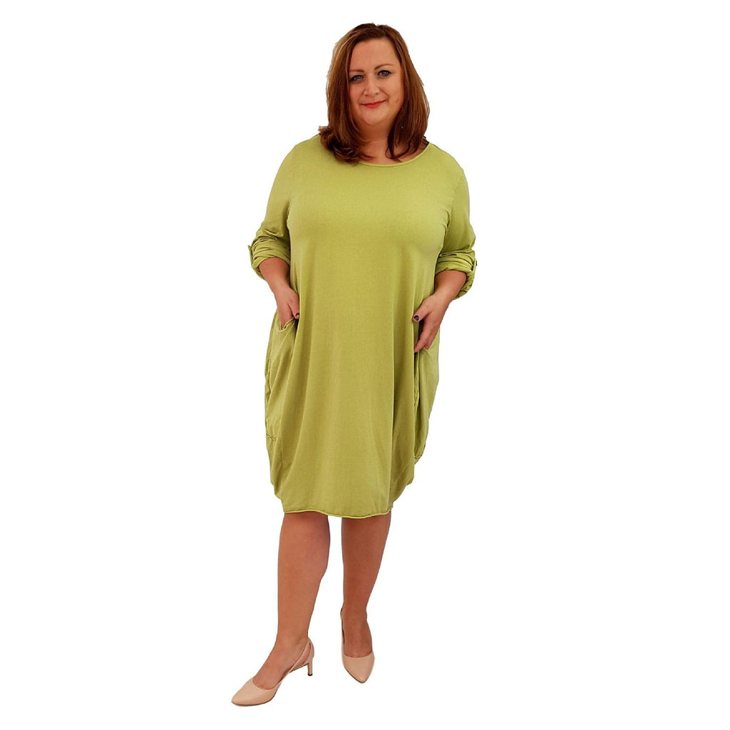 Cotton Long Sleeve Dress Long Sleeve Lime Lagenlook Plus Size [L119_LIME] - size 16 18 20 22 24 26 28 30 32 34 36 38 40 42 Wolfairy