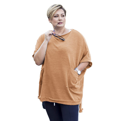 Top sweater warm jumper cape jacket poncho black plus plus size [L457_CAMEL] - size 16 18 20 22 24 26 28 30 32 34 36 38 40 42 Wolfairy