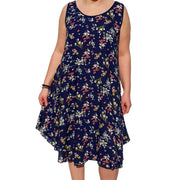 Dress  Sleeveless Boho Beach Holiday Floral Airy Lagenlook Plus Size [L1052_NAVY] - size 16 18 20 22 24 26 28 30 32 34 36 38 40 42 Wolfairy