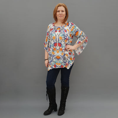 Wolfairy Plus Size Airy Striped Top Tunic Lace Sleeve [L1125_FLORAL]