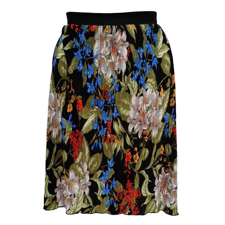 Floral Print Pleated Midi Skirt With Elasticated Waistband Plus Size [L1059_FLORAL] - size 16 18 20 22 24 26 28 30 32 34 36 38 40 42 Wolfairy