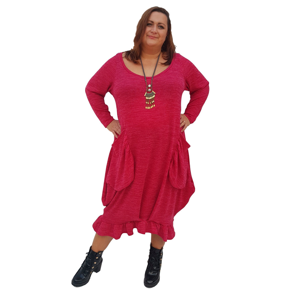 Maxi Dress Pockets Frill Long Sleeve Pockets Knitted Lagenlook Plus Size [L1019_FUCHSIA] - size 16 18 20 22 24 26 28 30 32 34 36 38 40 42 Wolfairy