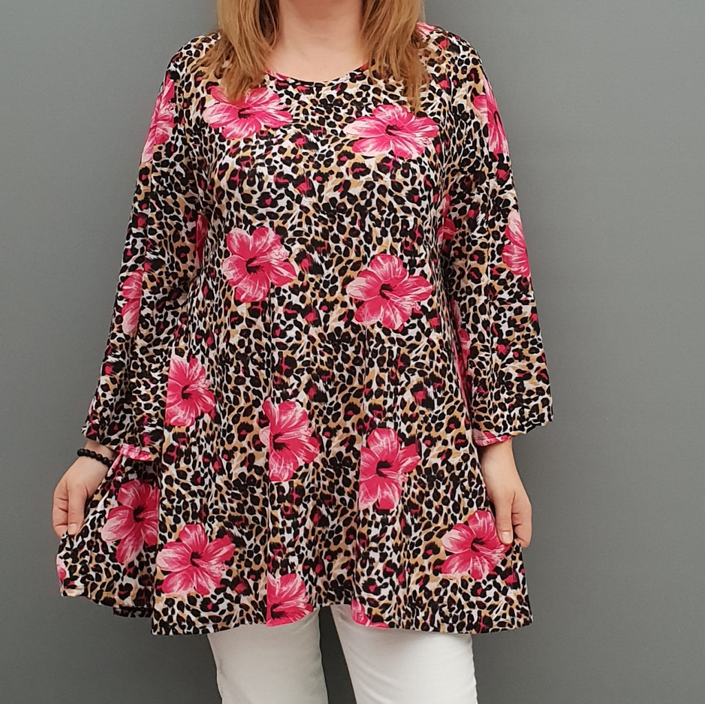 Top Tunic Loose Stretchy Bell Sleeves Lagenlook Plus Size [L1079_FUCHSIA] - size 16 18 20 22 24 26 28 30 32 34 36 38 40 42 Wolfairy