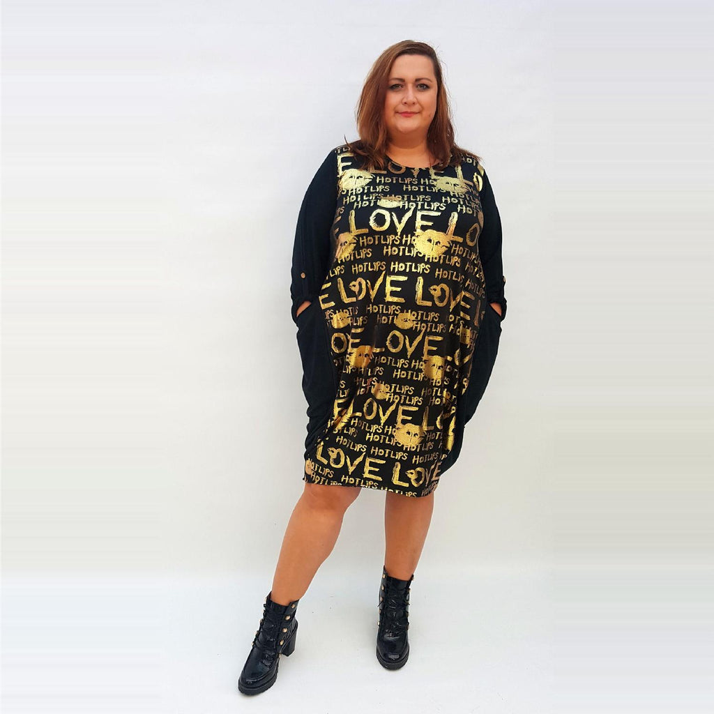 Dress Loose Baggy Long Sleeve Lagenlook Plus Size [L1016_GOLD] - size 16 18 20 22 24 26 28 30 32 34 36 38 40 42 Wolfairy