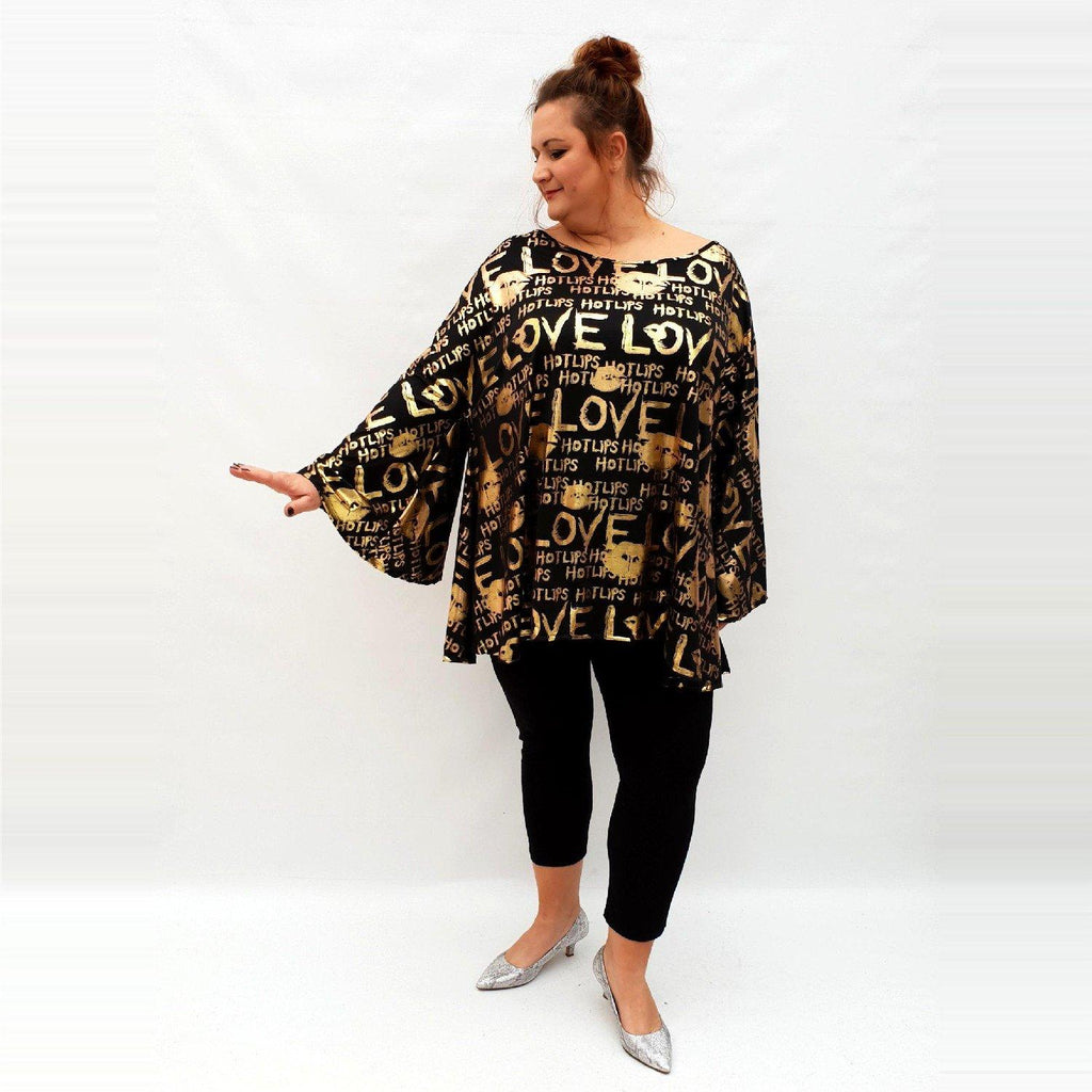 Top Tunic Loose Stretchy Long Sleeve Glamor Shiny Glitter Lagenlook Plus Size [L1021_GOLD] - size 16 18 20 22 24 26 28 30 32 34 36 38 40 42 Wolfairy