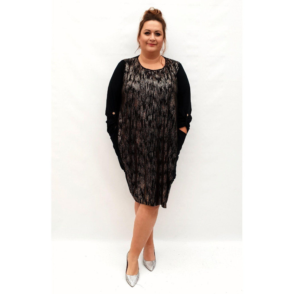Dress Loose Long Sleeve Shiny Glitter Lagenlook Plus Size [L1034_GOLD] - size 16 18 20 22 24 26 28 30 32 34 36 38 40 42 Wolfairy