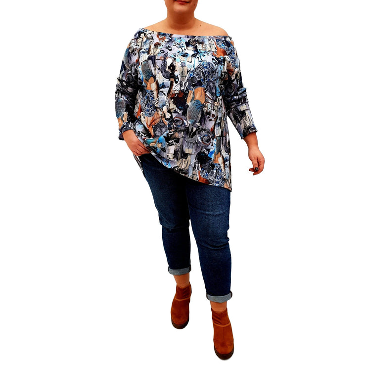 Off The Shoulder Printed Top Tunic Loose Long Sleeve Lagenlook Plus Size [L1039_GRAPHITE] top Wolfairy