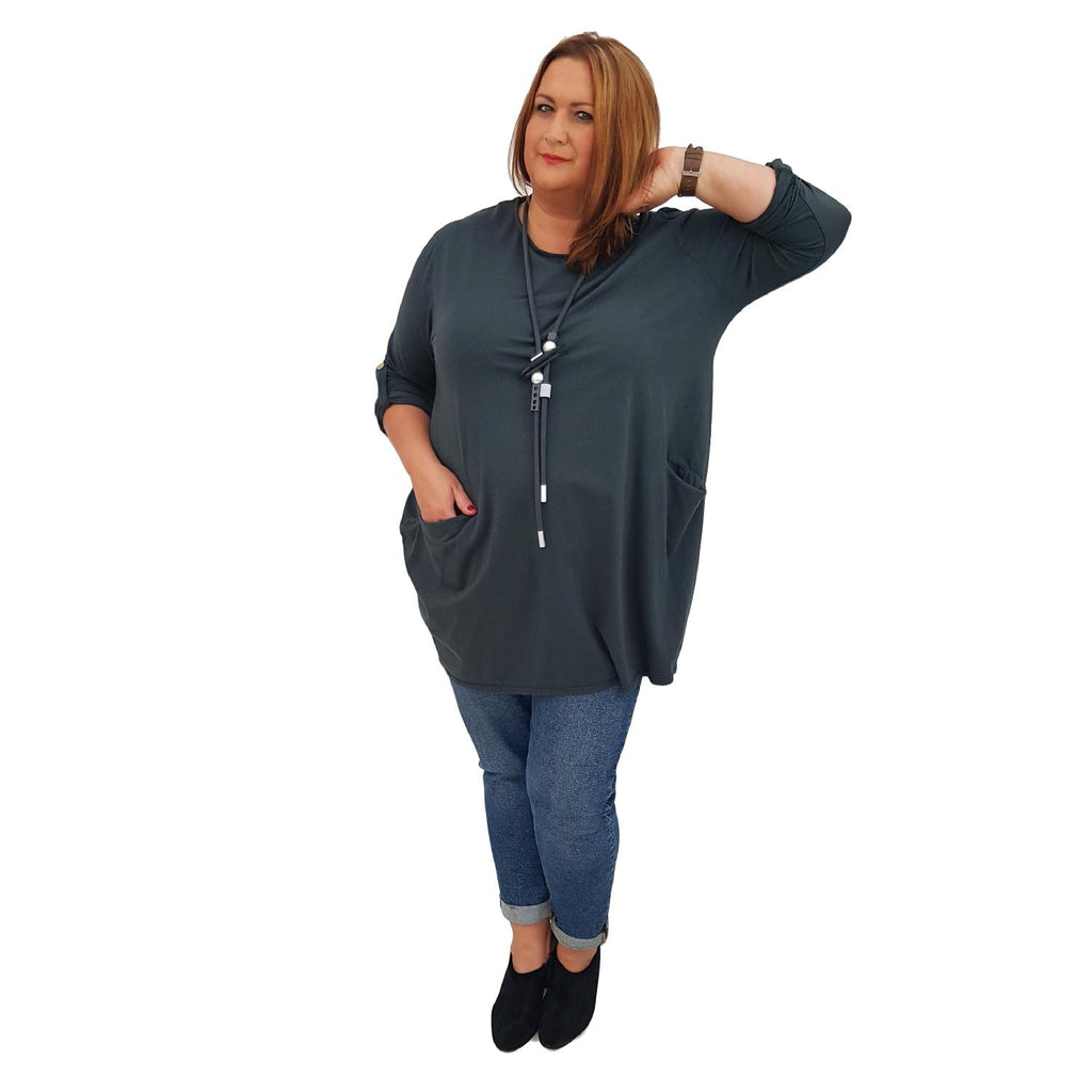 Tunic  Top Baggy   Graphite Plus Size [L420_GRAPHITE] - size 16 18 20 22 24 26 28 30 32 34 36 38 40 42 Wolfairy