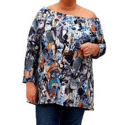 Off The Shoulder Printed Top Tunic Loose Long Sleeve Lagenlook Plus Size [L1039_GRAPHITE] - size 16 18 20 22 24 26 28 30 32 34 36 38 40 42 Wolfairy