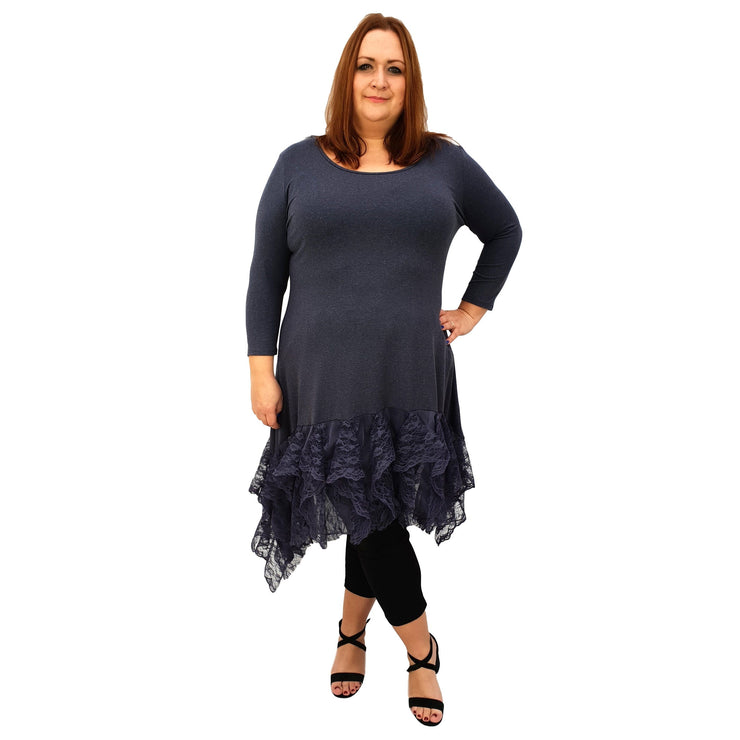 Longer Tunic Floral Lace Frill 3/4 Sleeve Lagenlook Plus Size [L1042_GRAPHITE] top Wolfairy