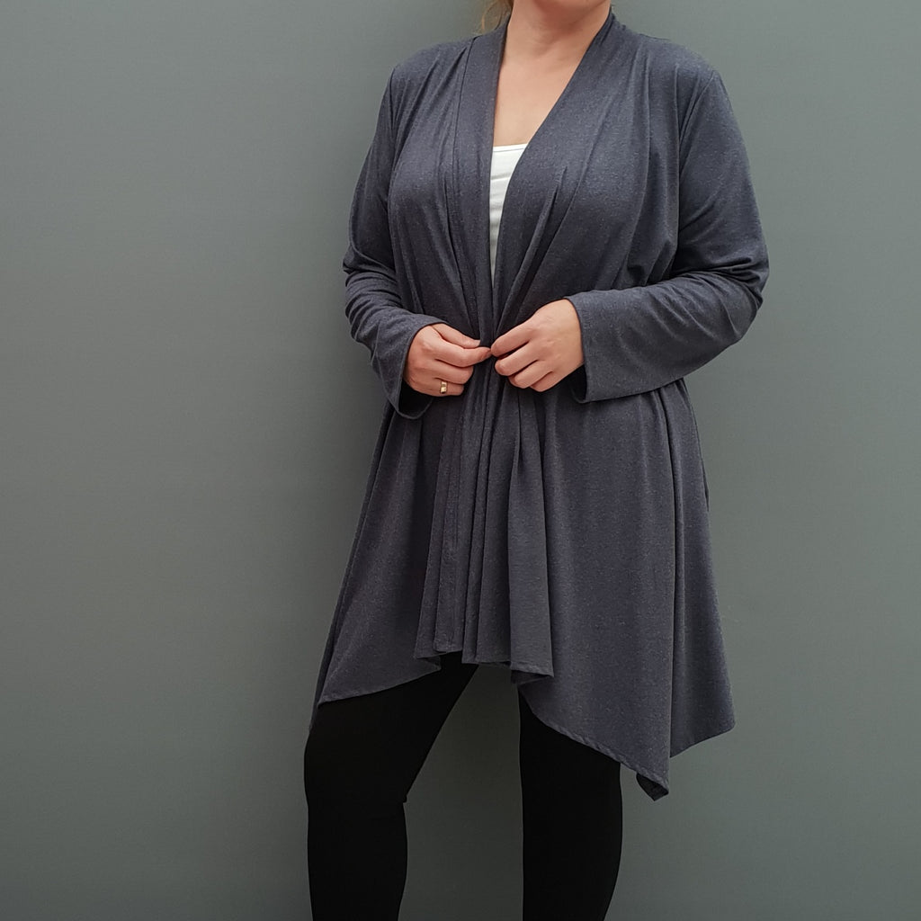 Womens plus size cardigan long sleeves open front handkerchief hem angora [L1086_GRAPHITE] - size 16 18 20 22 24 26 28 30 32 34 36 38 40 42 Wolfairy