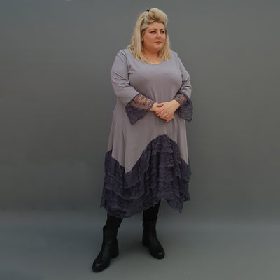 Plus Size Swing Jersey Long Top Dress Asymmetric Embellished Hem [L1118_GRAPHITE] - size 16 18 20 22 24 26 28 30 32 34 36 38 40 42 Wolfairy