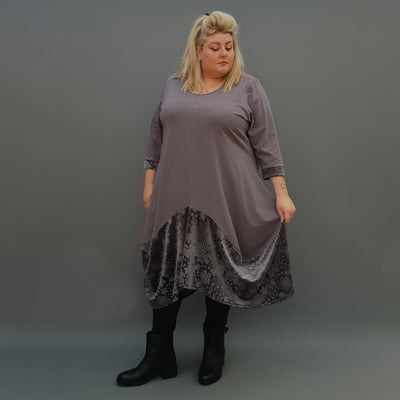 Plus Size Swing Jersey Cotton Long Top Dress Asymmetric Embellished Velvet Hem [L1121_GRAPHITE] - size 16 18 20 22 24 26 28 30 32 34 36 38 40 42 Wolfairy
