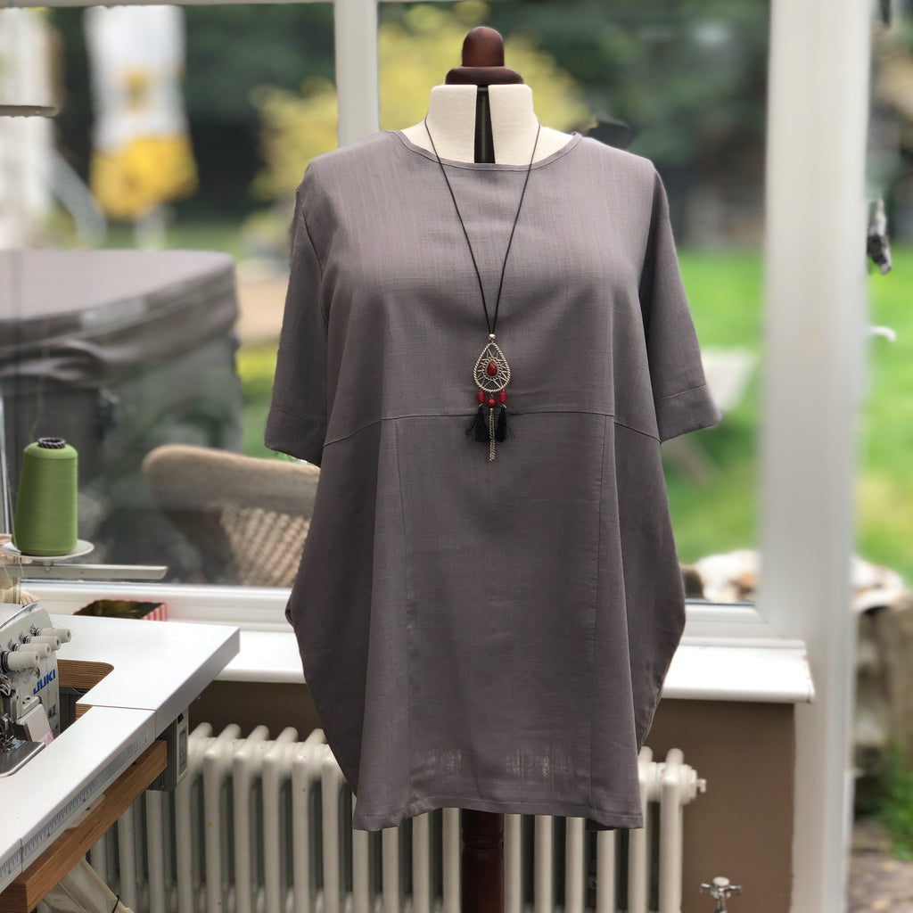 Linen Tunic Summer Top Loose Lagenlook Blouse Short Sleeve Plus Size [L1064_GRAPHITE]