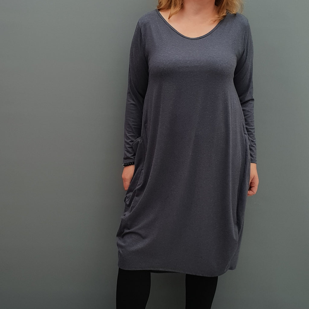 Womens winter angora dress warm sweater dress loose baggy lagenlook tunic [L1087_GRAPHITE] - size 16 18 20 22 24 26 28 30 32 34 36 38 40 42 Wolfairy