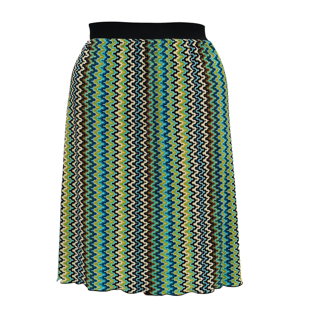 Geometric Print Pleated Midi Skirt With Elasticated Waistband Plus Size [L1059_GREEN] - size 16 18 20 22 24 26 28 30 32 34 36 38 40 42 Wolfairy