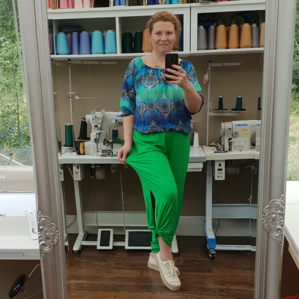 Plus Size Wide Leg Trousers With Slits Loose Pants For Summer  [L1069_GREEN]