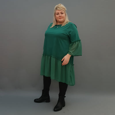 Plus Size Swing Jersey Cotton Top Longer Back with Chiffon Hem [L1120_GREEN] - size 16 18 20 22 24 26 28 30 32 34 36 38 40 42 Wolfairy