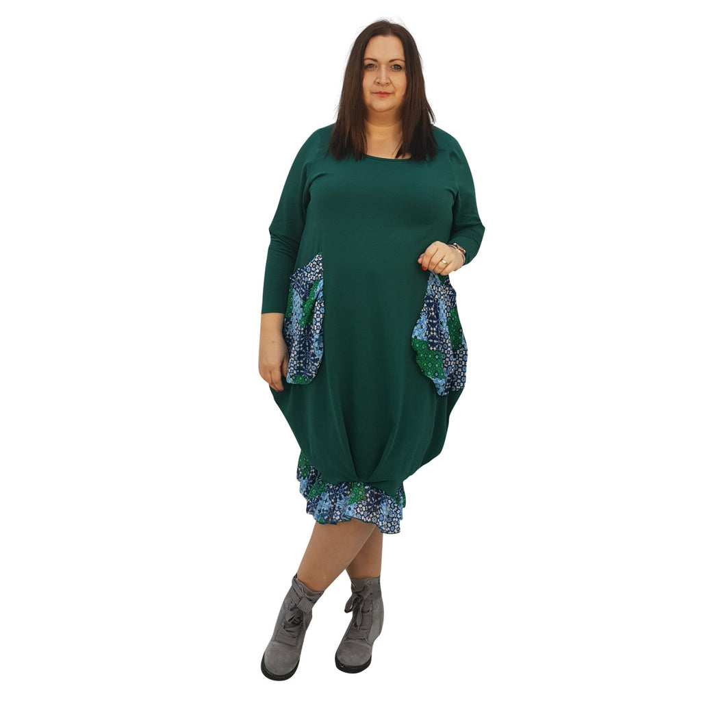 Asymmetric Dress Loose Chiffon Pockets And Frill Long Sleeve Lagenlook Plus Size [L1045_GREEN] - size 16 18 20 22 24 26 28 30 32 34 36 38 40 42 Wolfairy