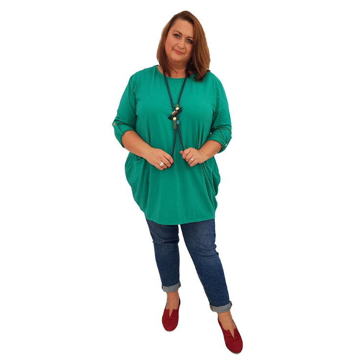 Tunic  Top Baggy   Green Plus Size [L420_GREEN] - size 16 18 20 22 24 26 28 30 32 34 36 38 40 42 Wolfairy