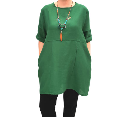 Linen Tunic Summer Top Loose Lagenlook Blouse Short Sleeve Plus Size [L1064_GREEN]
