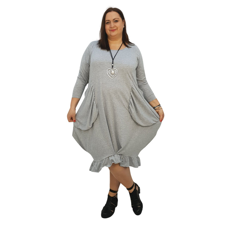 Asymmetric Dress Frill Loose Pockets Plain Long Sleeve Lagenlook Plus Size [L1044_GREY] - size 16 18 20 22 24 26 28 30 32 34 36 38 40 42 Wolfairy