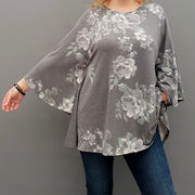 Top tunic loose stretchy long sleeve lagenlook plus size  [L1000_GREY] - size 16 18 20 22 24 26 28 30 32 34 36 38 40 42 Wolfairy